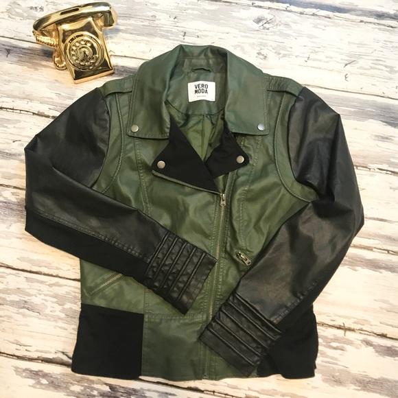 Vero Moda Green and Black Moto jacket. Size large!